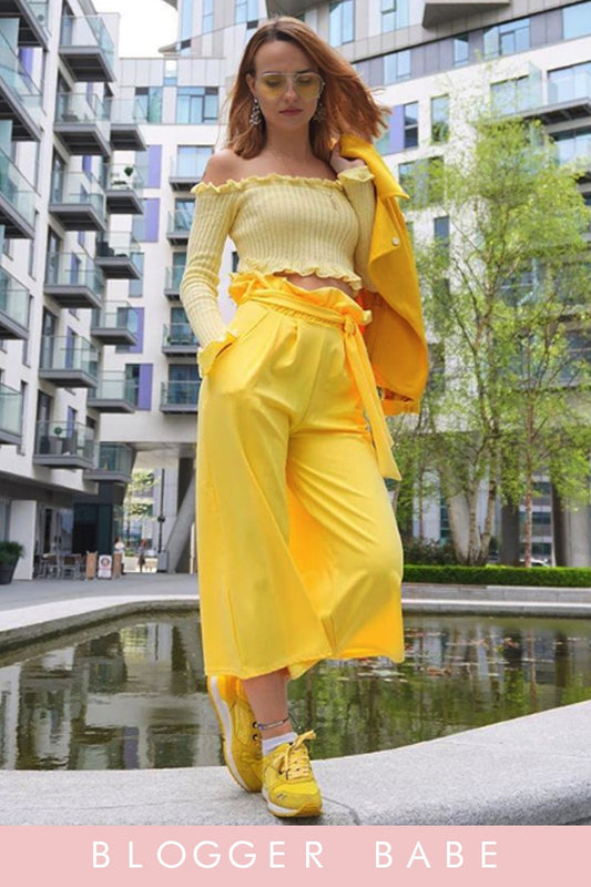 Lemon Ruffle Bardot Ribbed Top