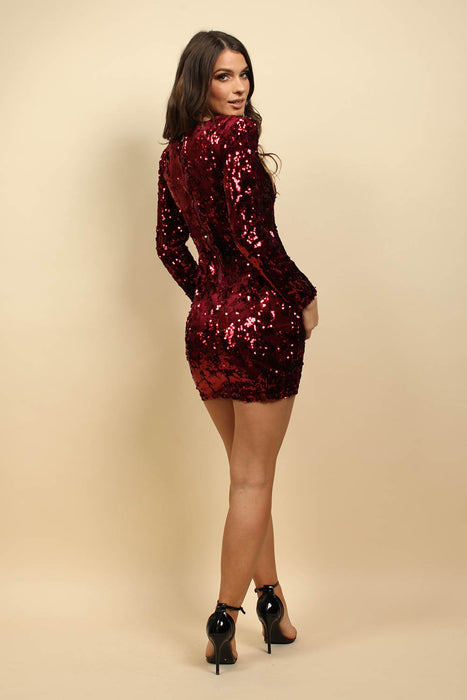 Bodycon Long Sleeve Sequin Dress In Burgundy