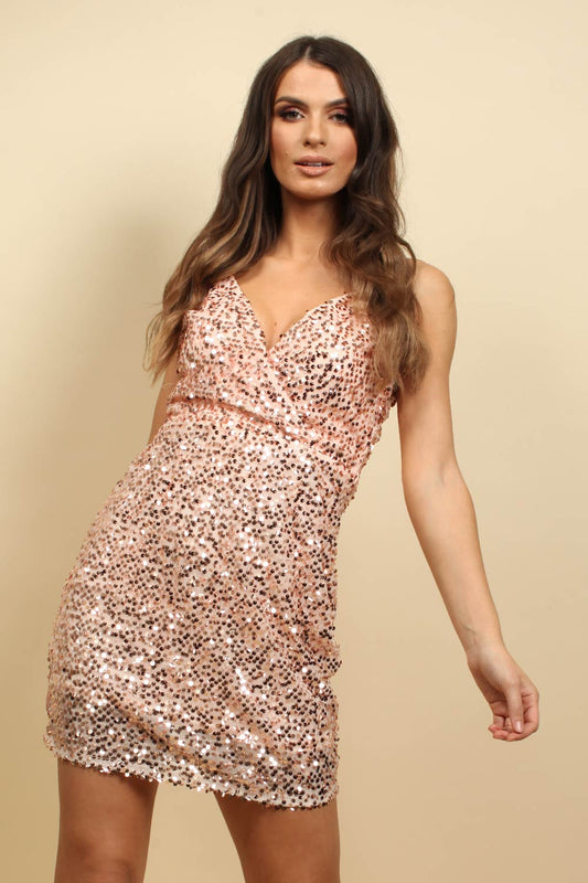 Cami Sequin Mini Dress In Rose Gold