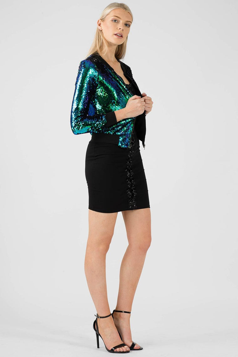 Two Tone Sequin Bomber Jacket