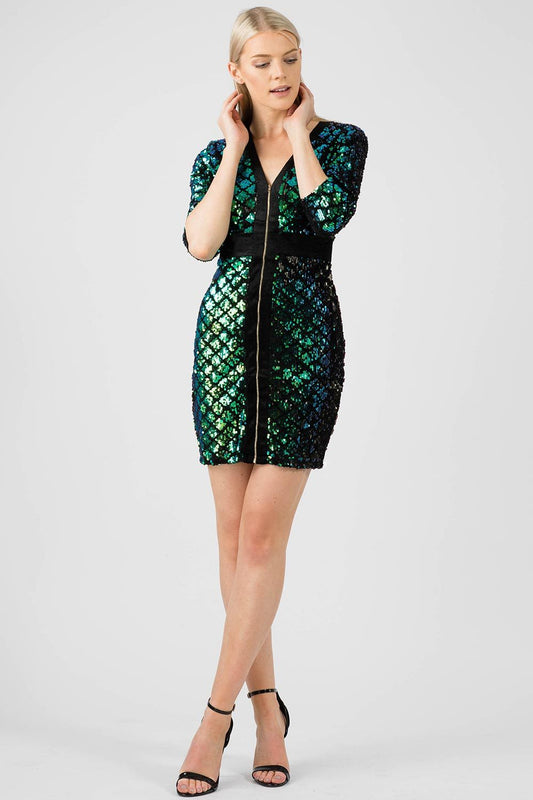 Green Sequin and Velvet Zip Bodycon Dress