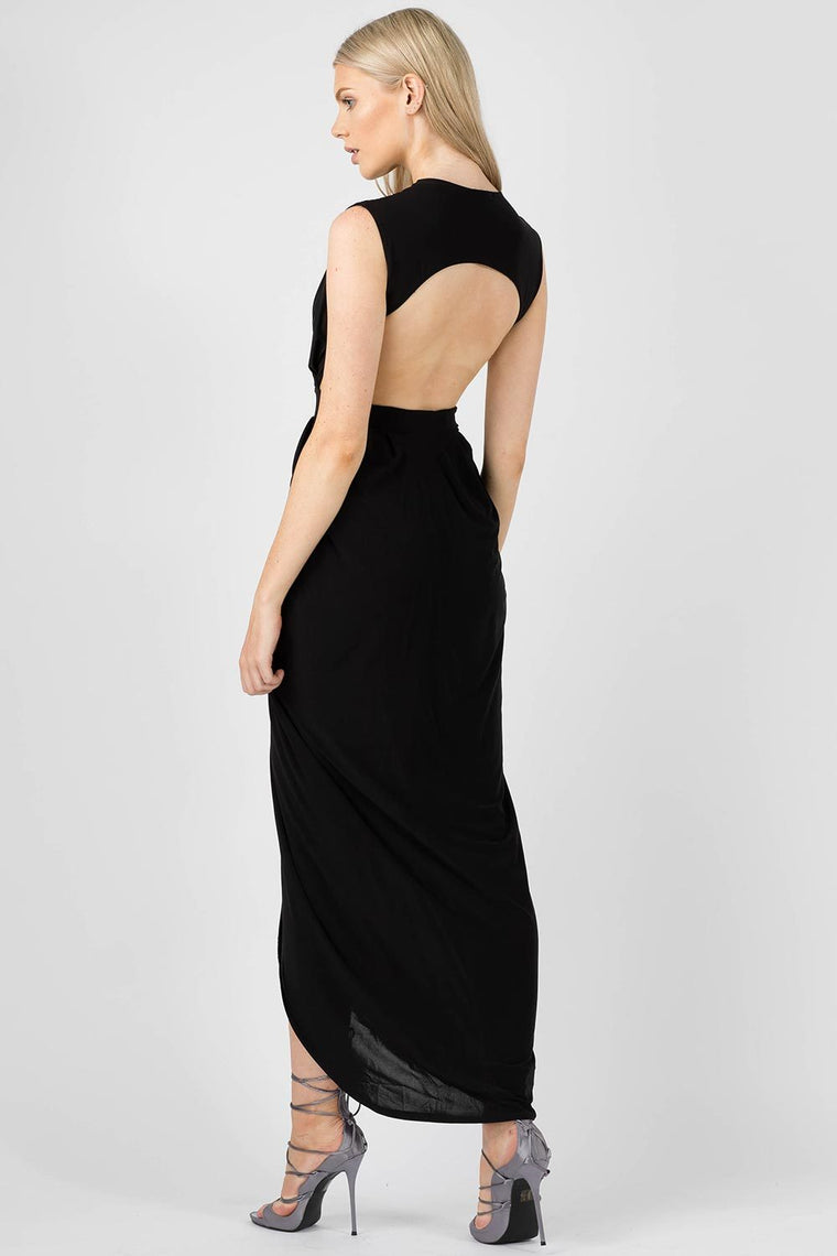 Sleeveless Black Gold Maxi Dress