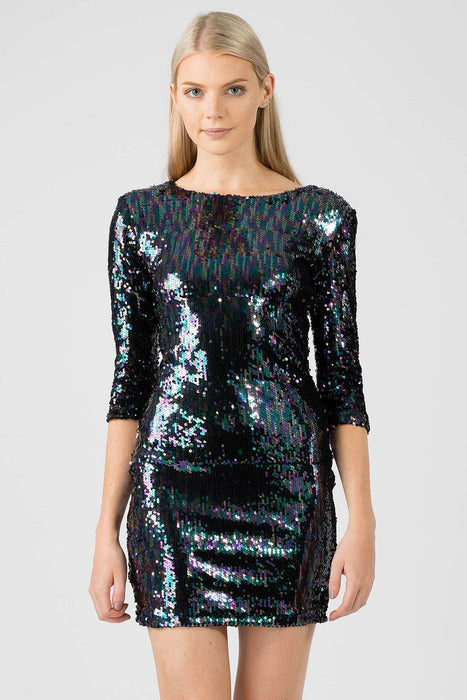 Two Tone Black Iridescent Sequin Dress