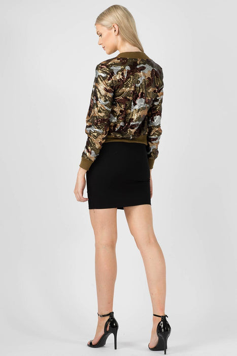 Camo Iridescent Sequin Bomber Jacket