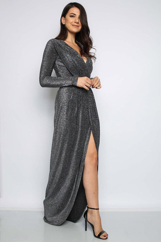 Gunmetal Silver Metallic Pleated Maxi Dress