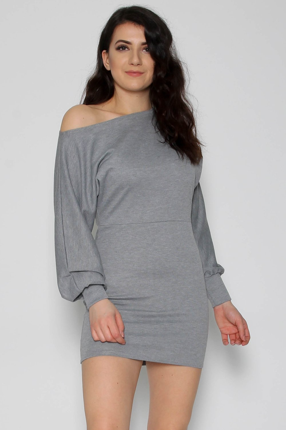 Off Shoulder Grey Sweater Dress