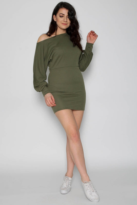 Off Shoulder Khaki Sweater Dress