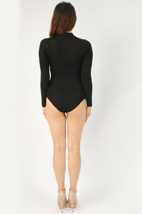 Choker Long Sleeve Black Bodysuit