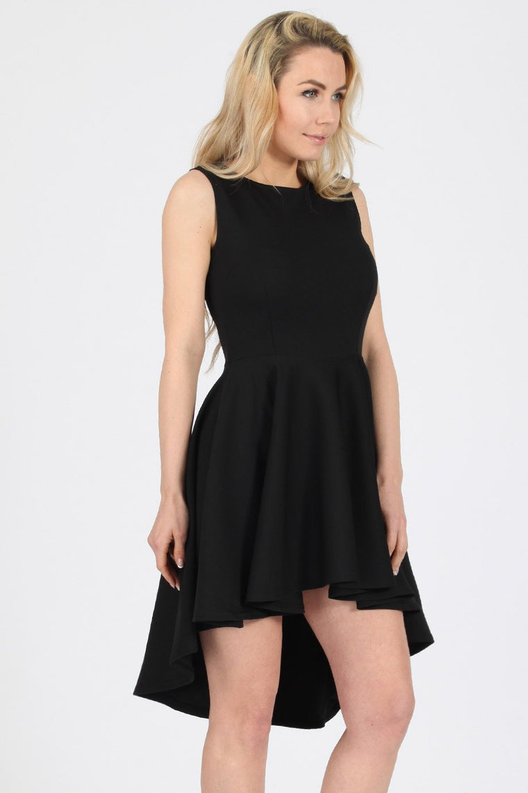 High-low Skater Black Dress