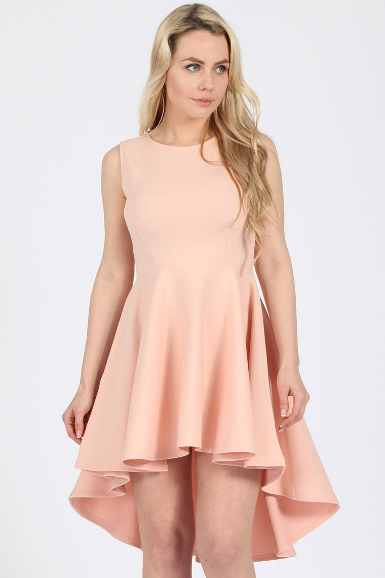 High-low Skater Nude Dress