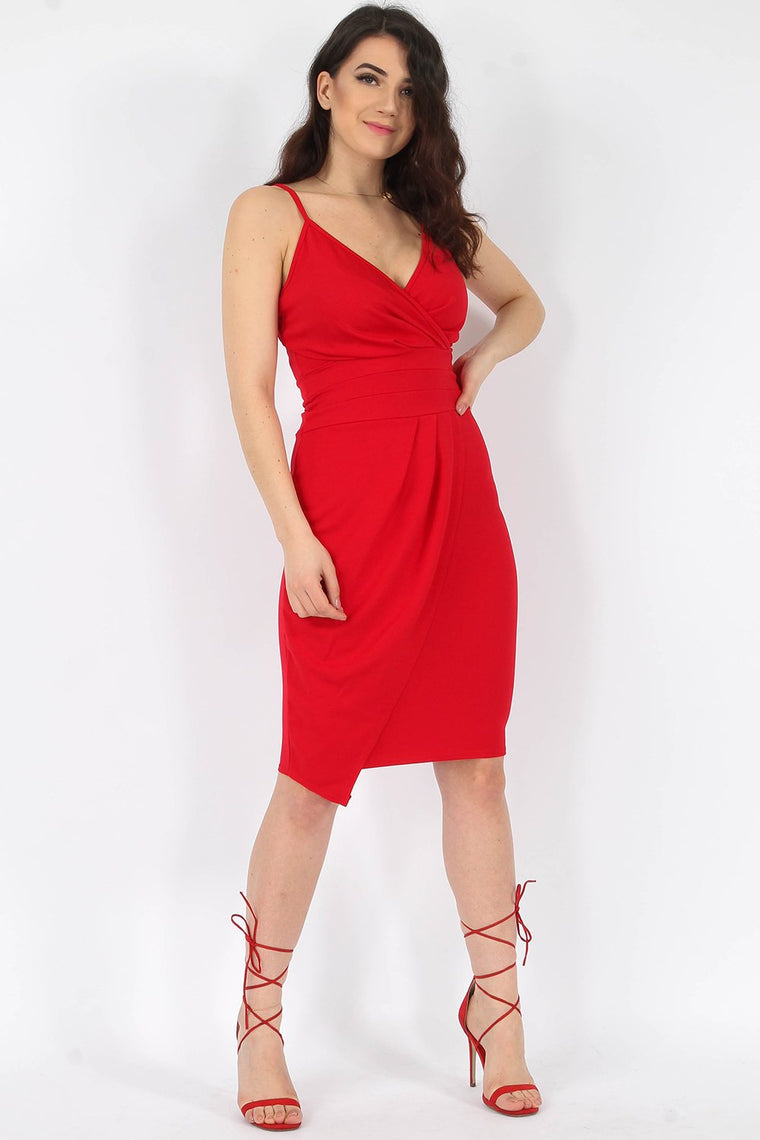 Wrap Cami Asymmetric Red Dress
