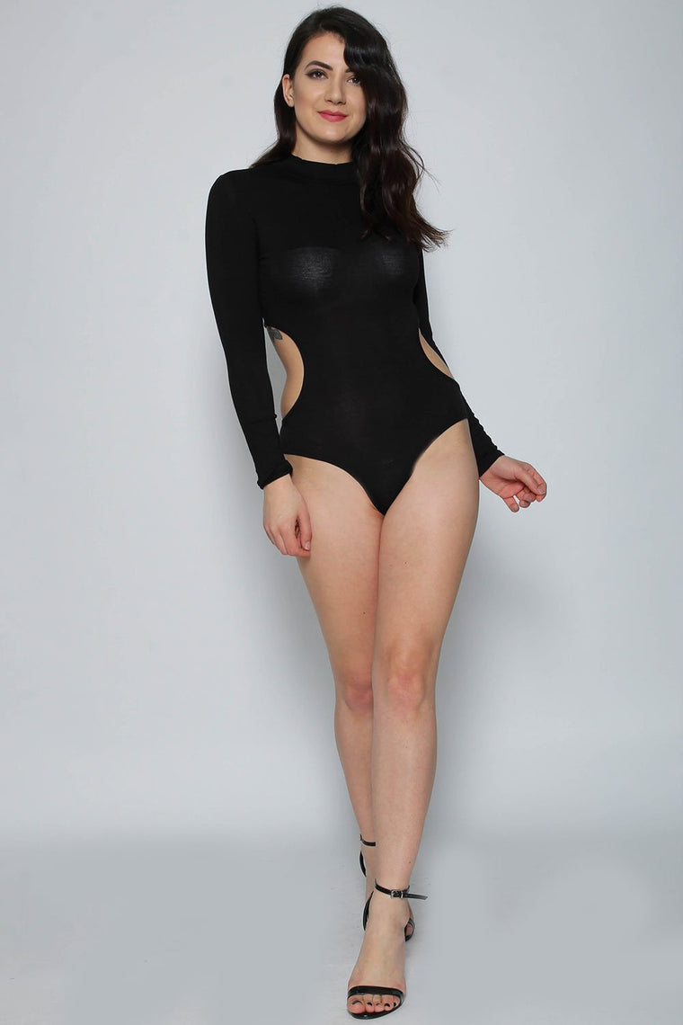 Side Cut Out Black Long Sleeve Bodysuit