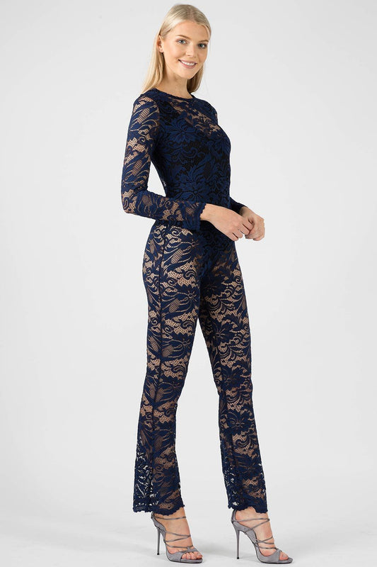 Floral Navy Lace Jumpsuit