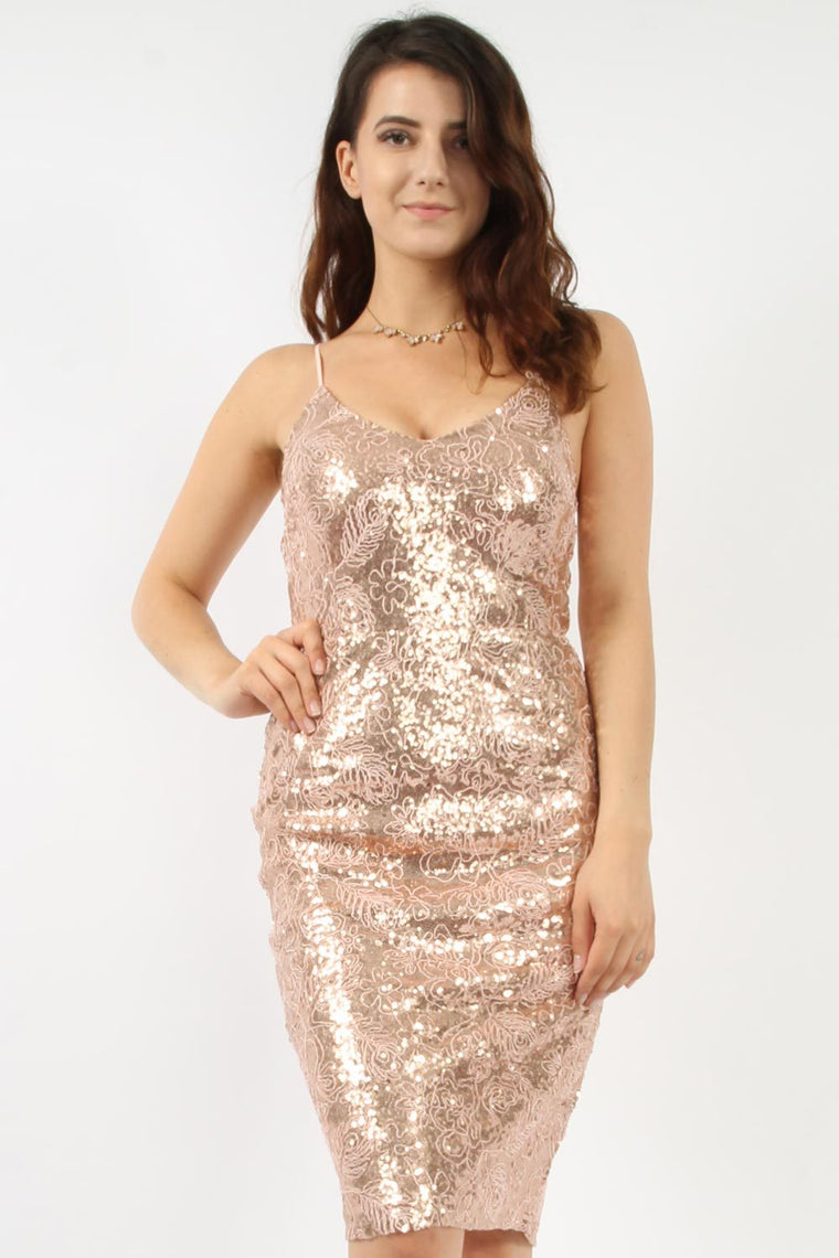 Nude Sequin Midi Dress