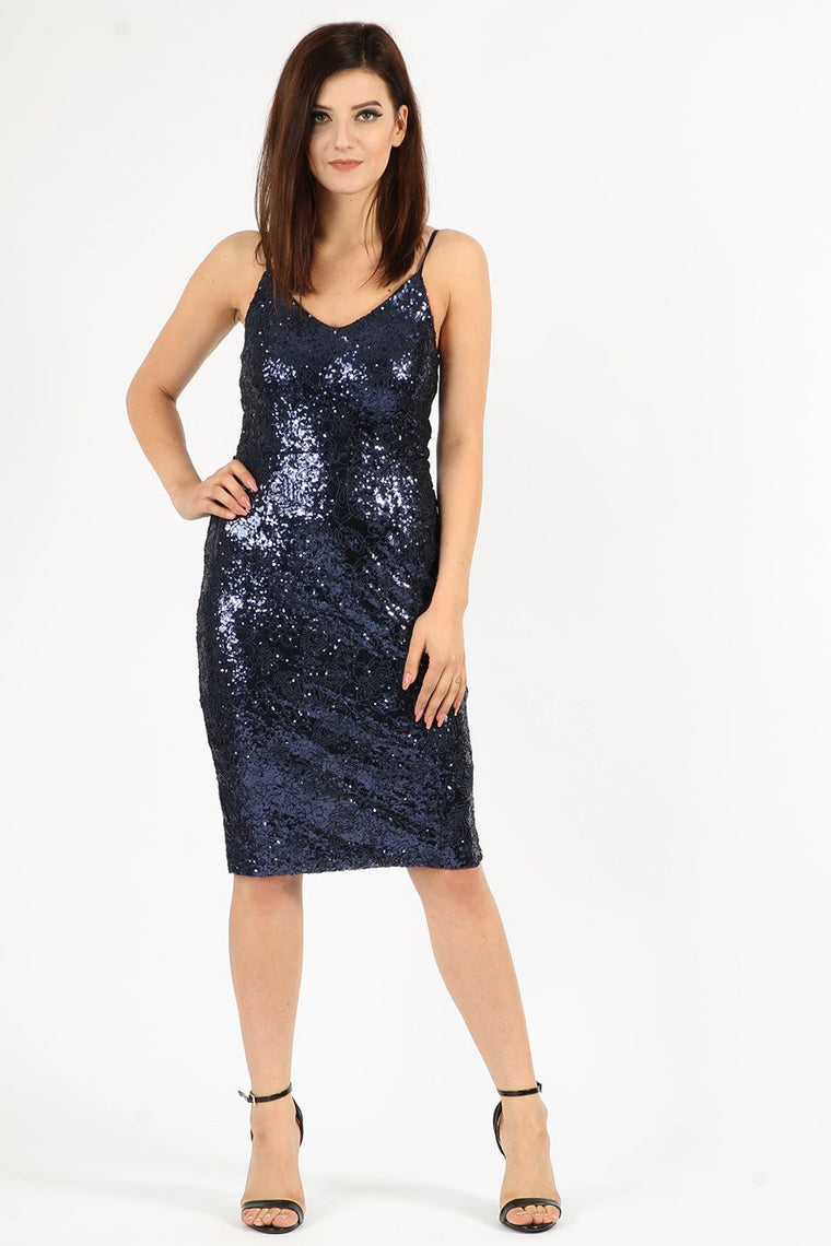 Navy Sequin Midi Dress
