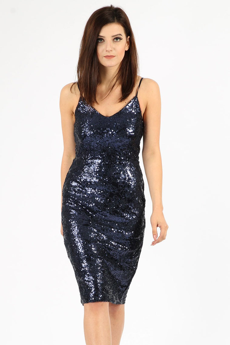 Floral Navy Sequin Midi Dress