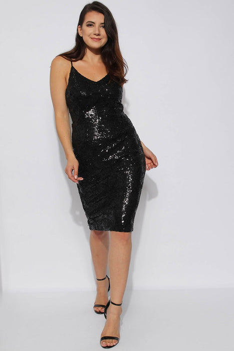 Black Sequin Midi Dress