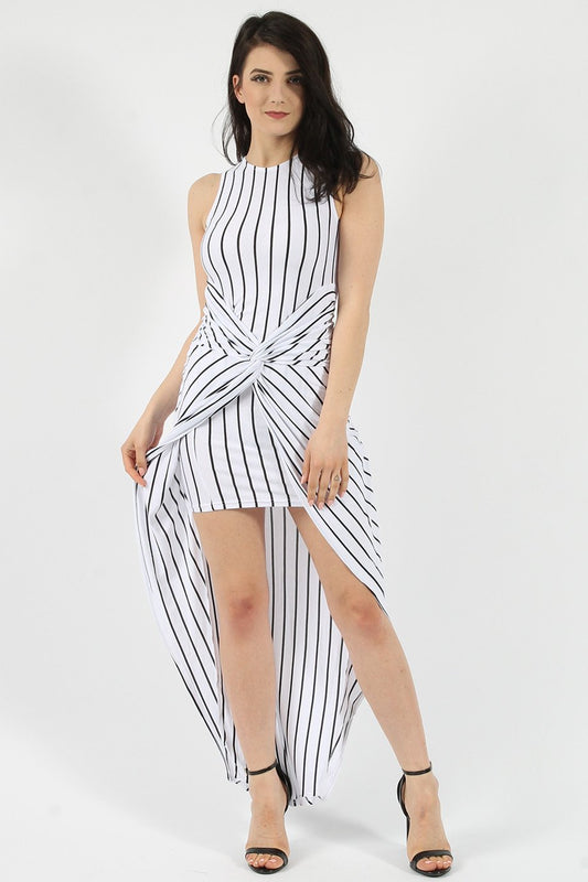 Stripe Knot Twist White Maxi Dress