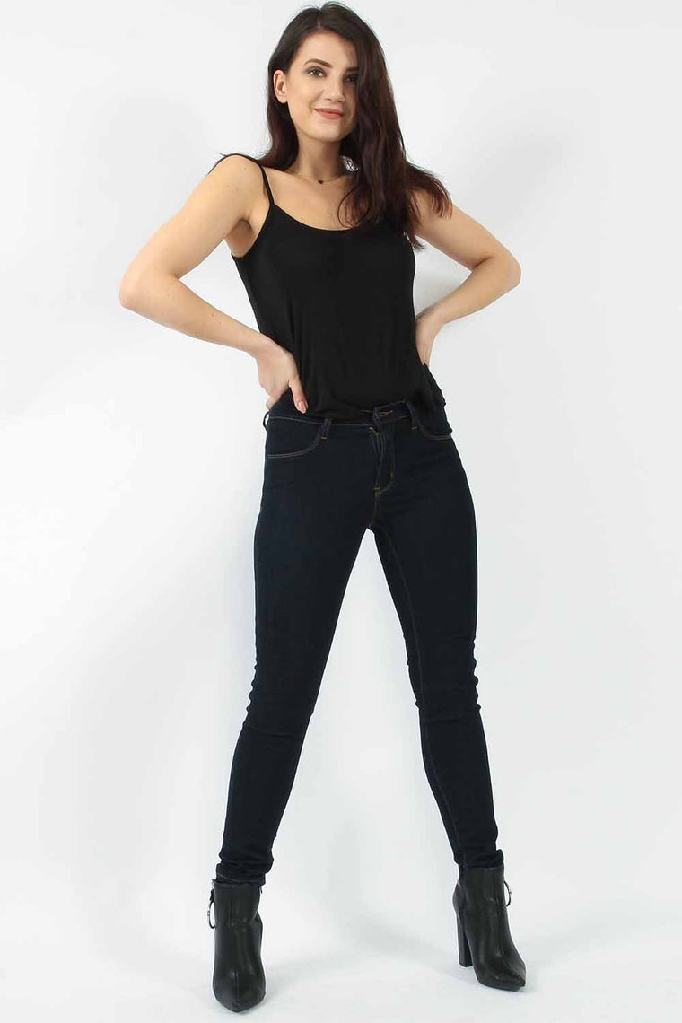 Skinny Mid Rise Navy Jeans