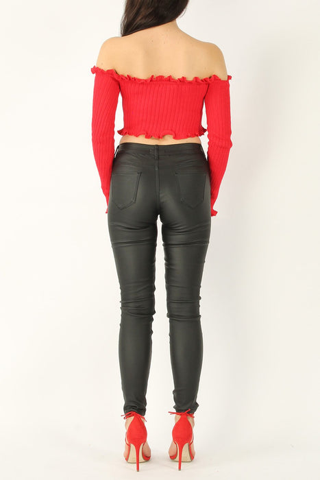 Coated Skinny Mid Rise Black Jeans