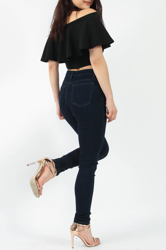 High Waisted Skinny Navy Jeans
