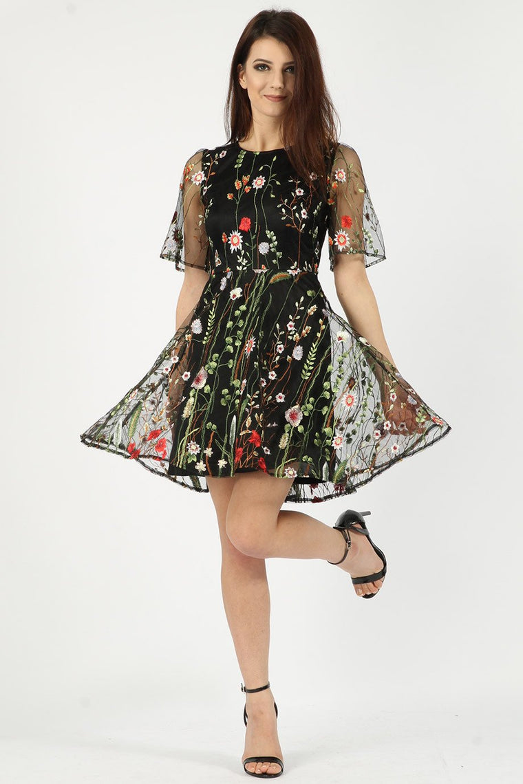 Embroidered Mesh Skater Dress
