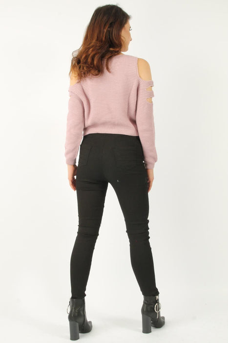 Knitted Pink Cropped Jumper