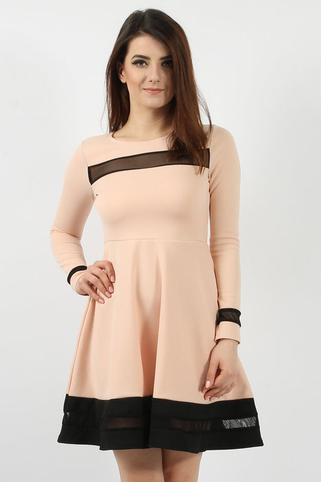 Mesh Panelled Nude Skater Dress