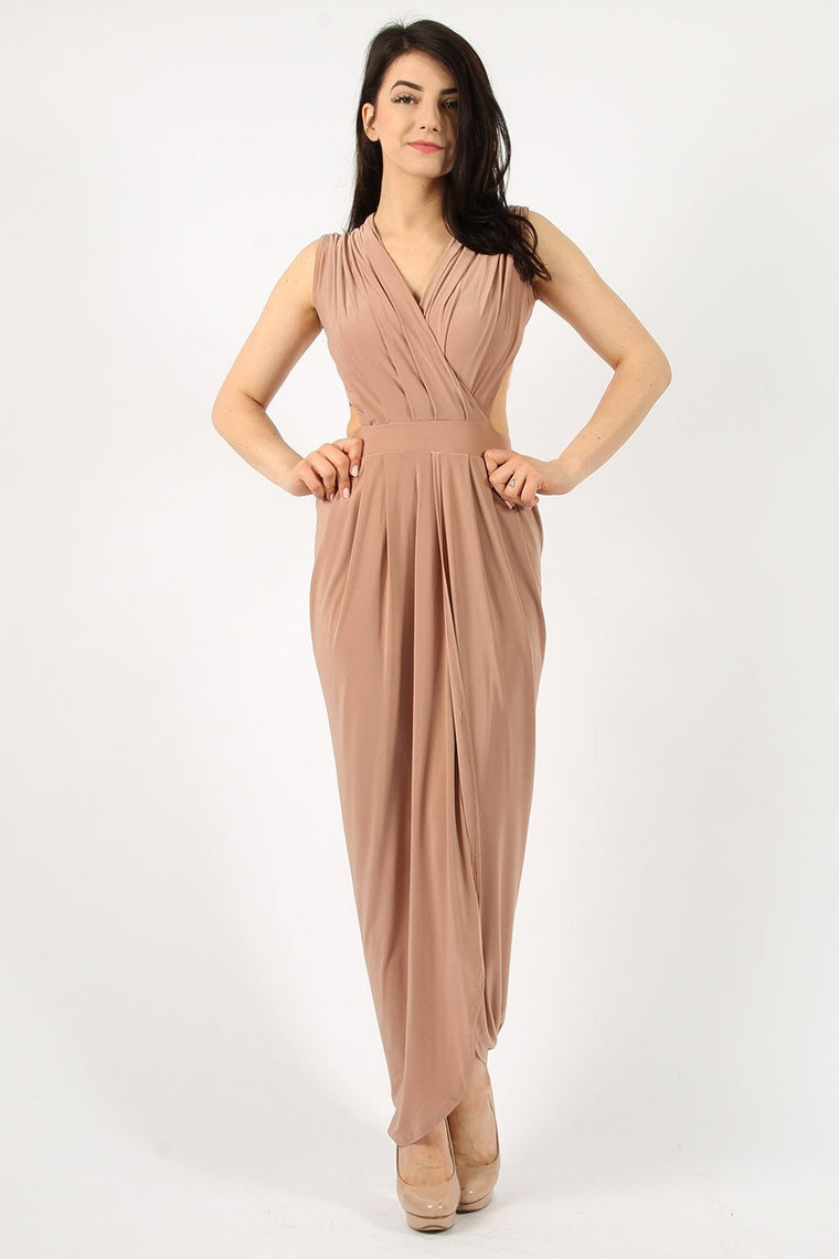 Sleeveless Rose Gold Maxi Dress