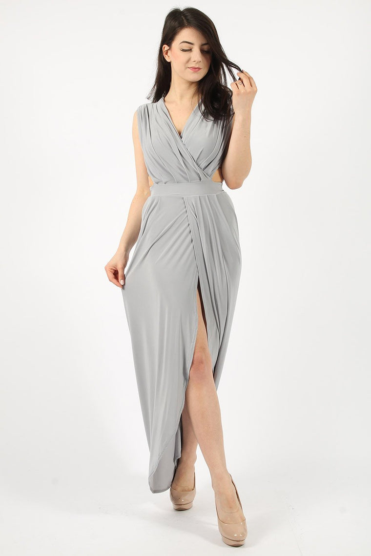 Sleeveless Silver Maxi Dress