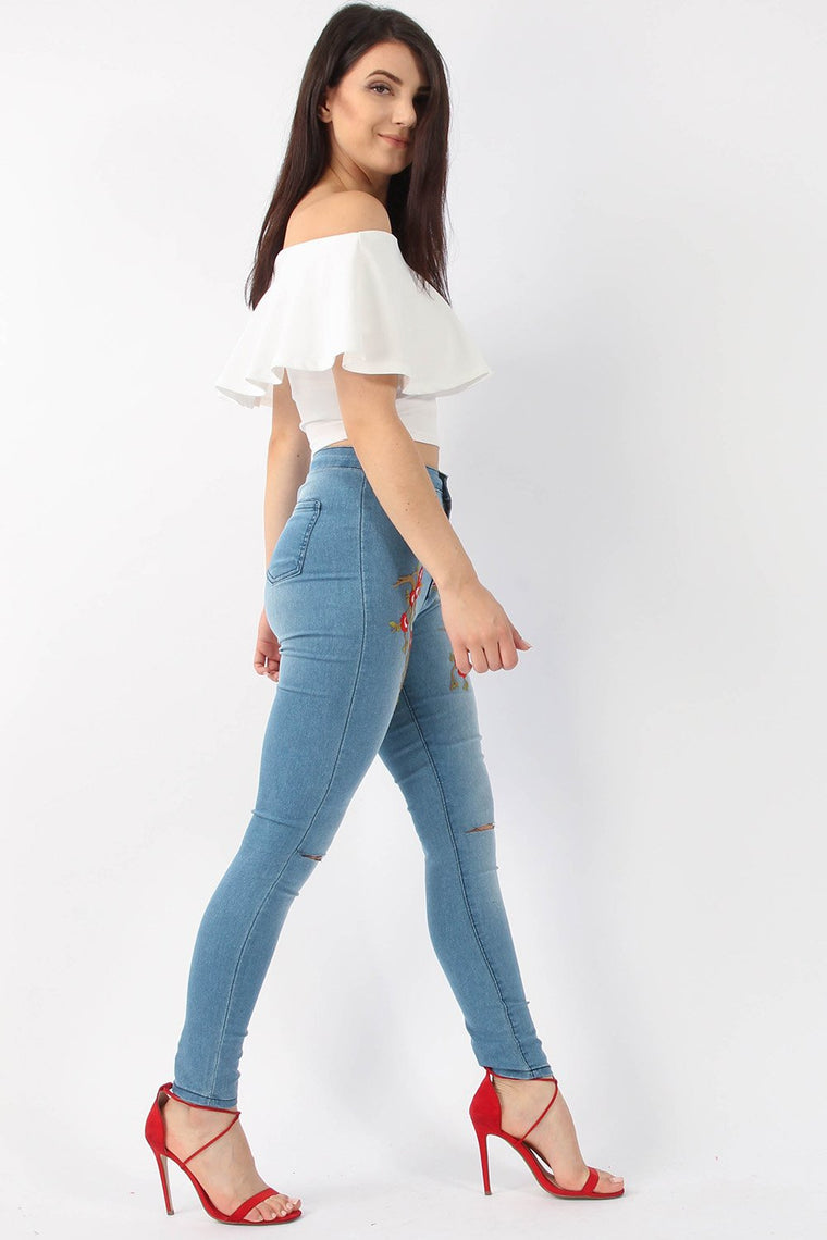 Embroidered Ripped Skinny Blue Jeans