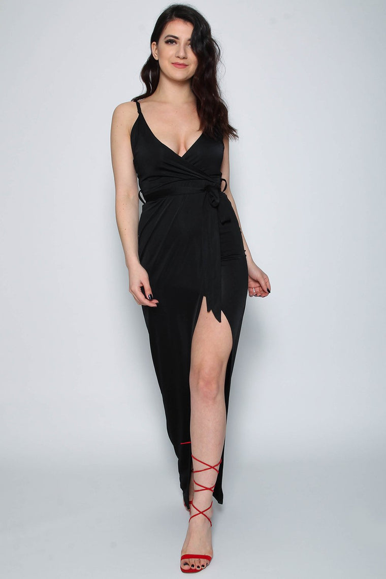 Slinky Black Wrap Tie Maxi Dress