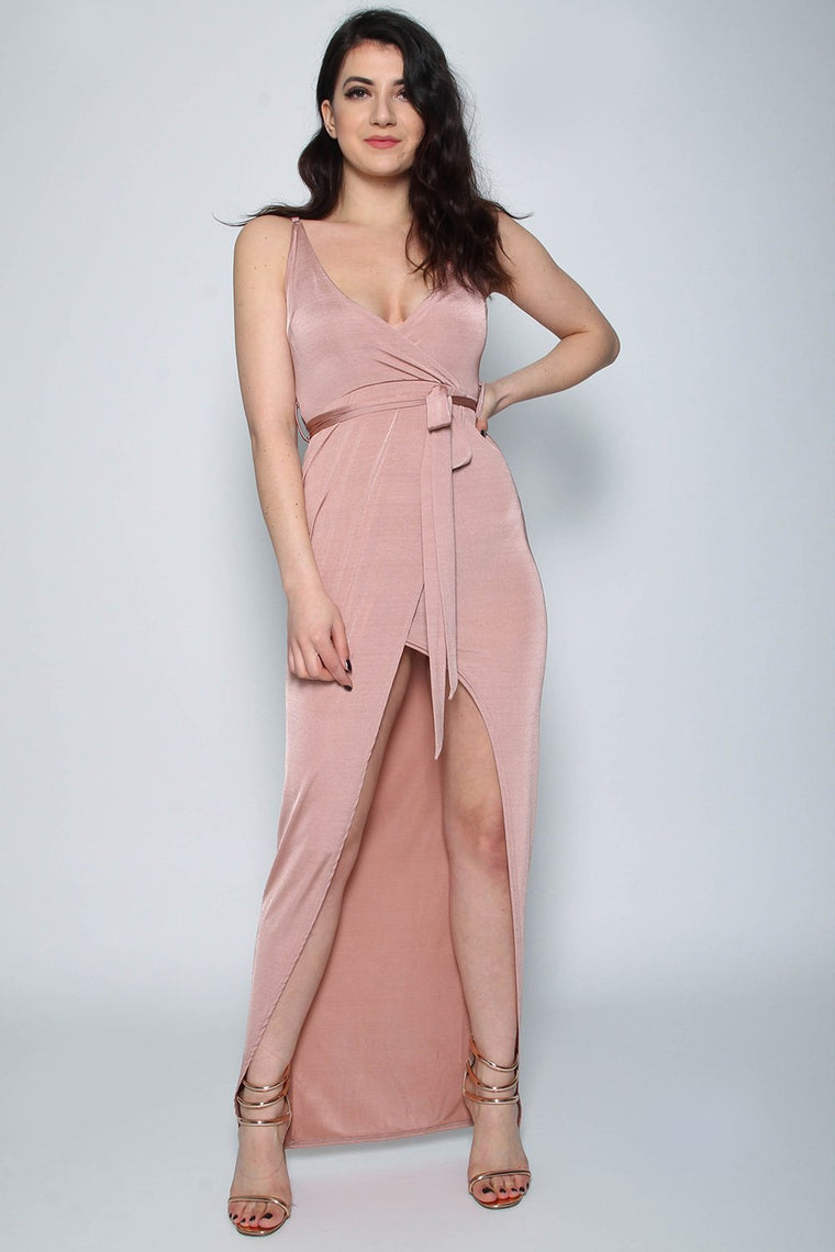 Slinky Rose Wrap Tie Maxi Dress