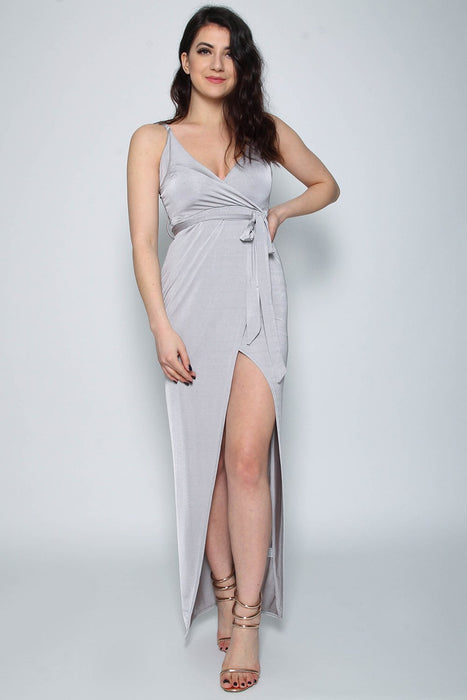 Slinky Light Grey Wrap Tie Maxi Dress