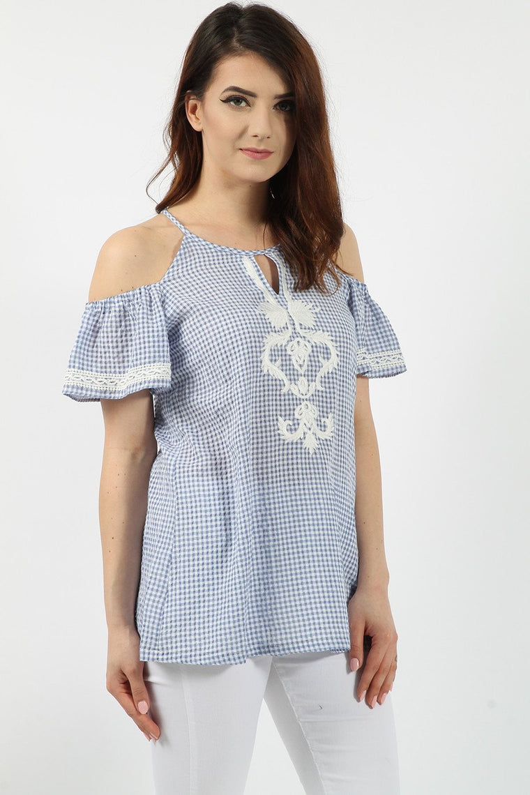 Embroidered Blue Gingham Top