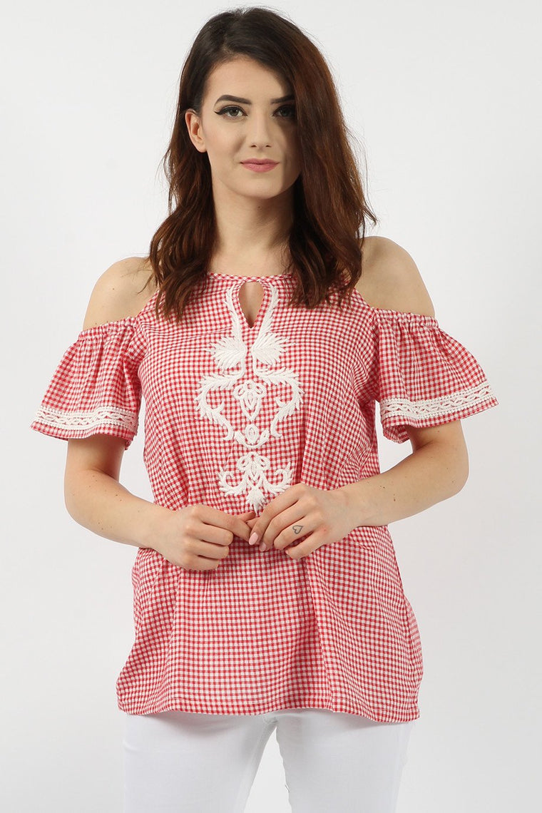 Embroidered Red Gingham Top