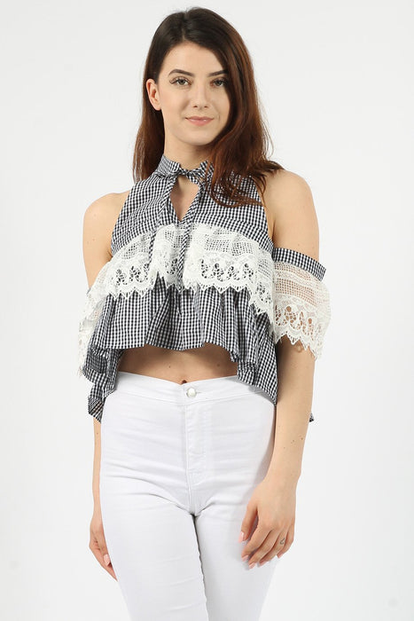 Gingham Lace Black Crop Top