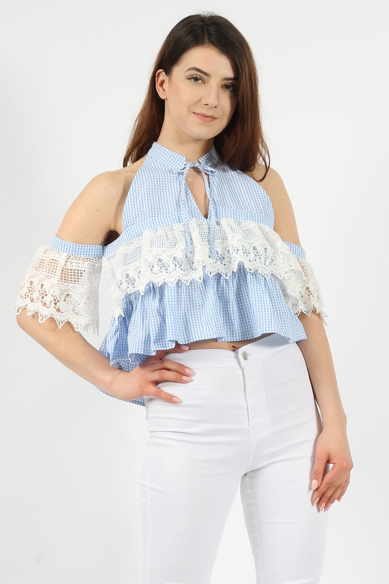 Gingham Lace Blue Crop Top
