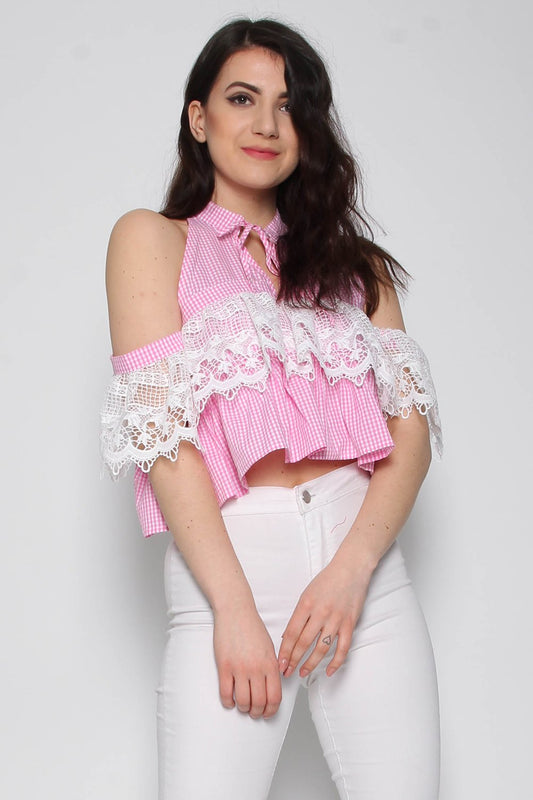 Gingham Lace Pink Crop Top