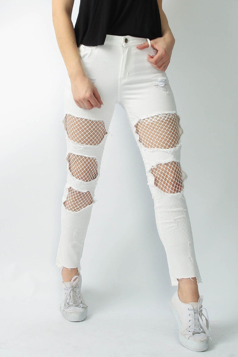 Fishnet Skinny White Jeans