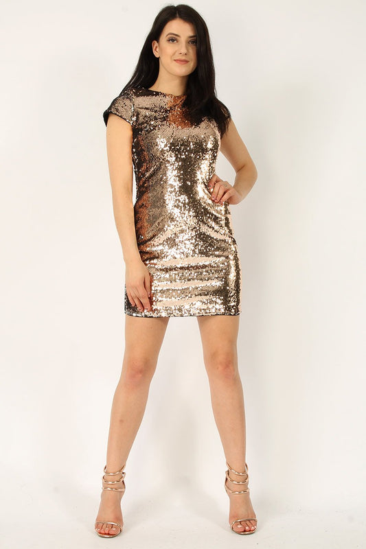 Two Tone Rose Gold Sequin Bodycon Dress