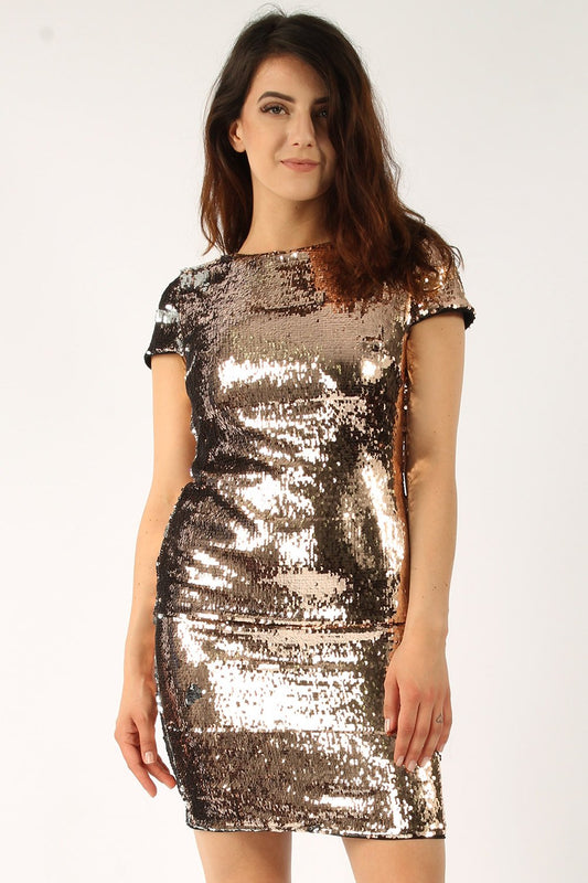 Two Tone Sequin Bodycon Dress
