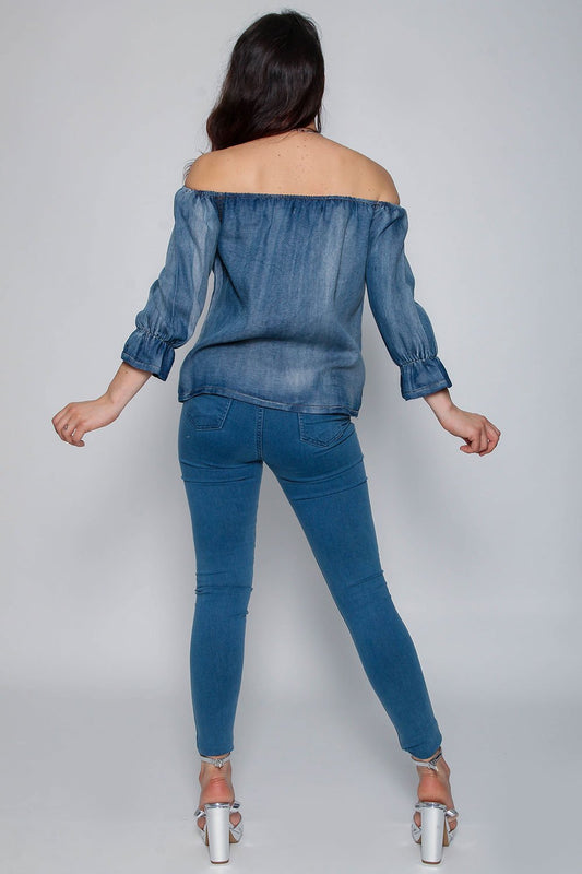 Rose Denim Bardot Button Top