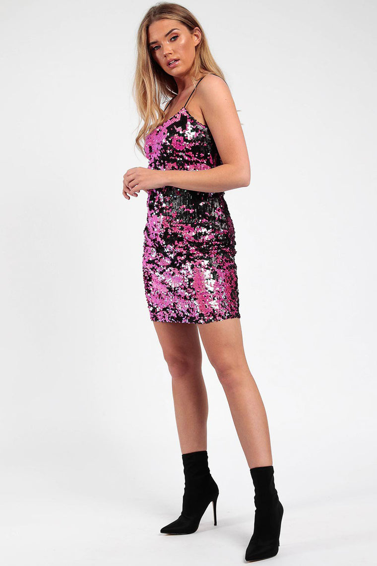 Two Tone Pink Sequin Dress