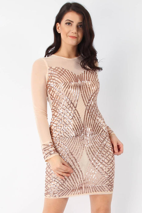 Rose Gold Mesh Sequin Bodycon Dress