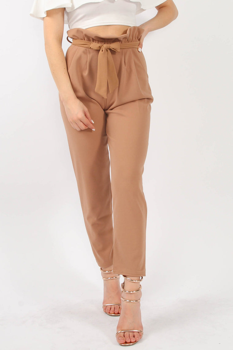 Pleated Waist Cigarette Trousers Camel