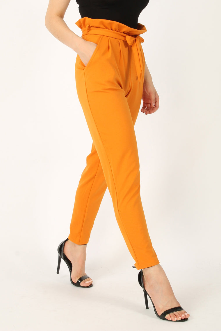 Pleated Waist Cigarette Trousers mustard