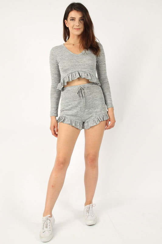 Top & Shorts Frill Light Grey Lounge Set