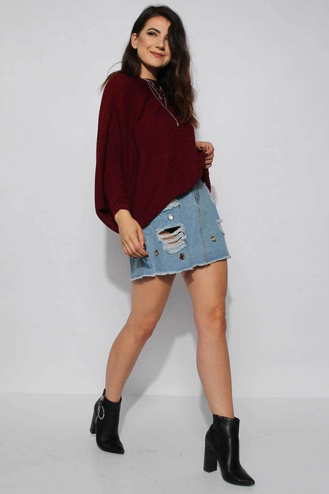 Wine Batwing Knitted Jumper