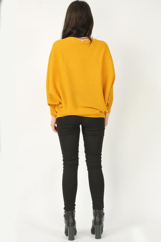 Mustard Batwing Knitted Jumper